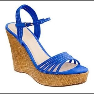 J. Crew 'Bette' blue suede strappy wedge sandals